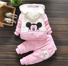 4-24M 3 pieces toddlers infant girl baby girl winter clothes set  thick clothing warm winter jacket coat for baby girl mickey