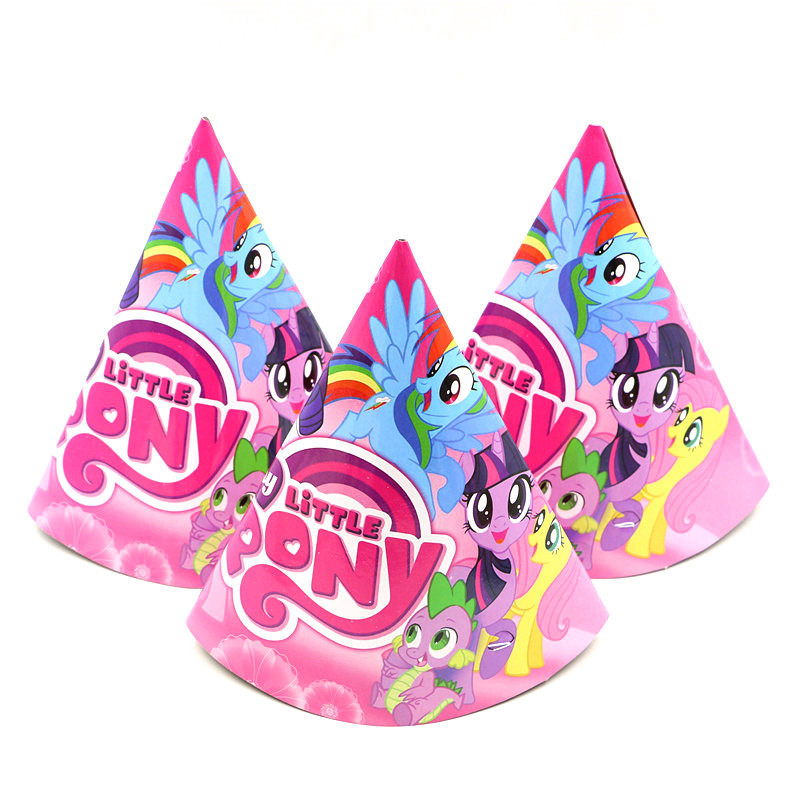 cba11670e54 Aliexpress.com : Buy My Little Pony Cartoon 6Pcs/Lot Disposable 20*14cm Kid  Boy Birthday Party Paper Hat Cap Birthday Party Hat Decoration Supplies  from ...