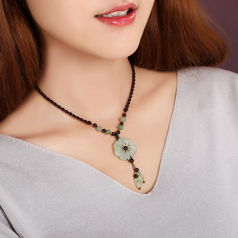 Chinese Style Vintage Long Section Necklace Gift National Trend Chain Female Design Handmade Jewelry Accessories Ceramics Simple