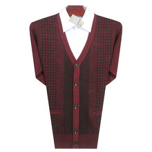 Men Casual Cardigan Sweaters Purplish Red Gray Glen Check Knitted Tops Man V-neck Knitwear Male Cashmere Wool