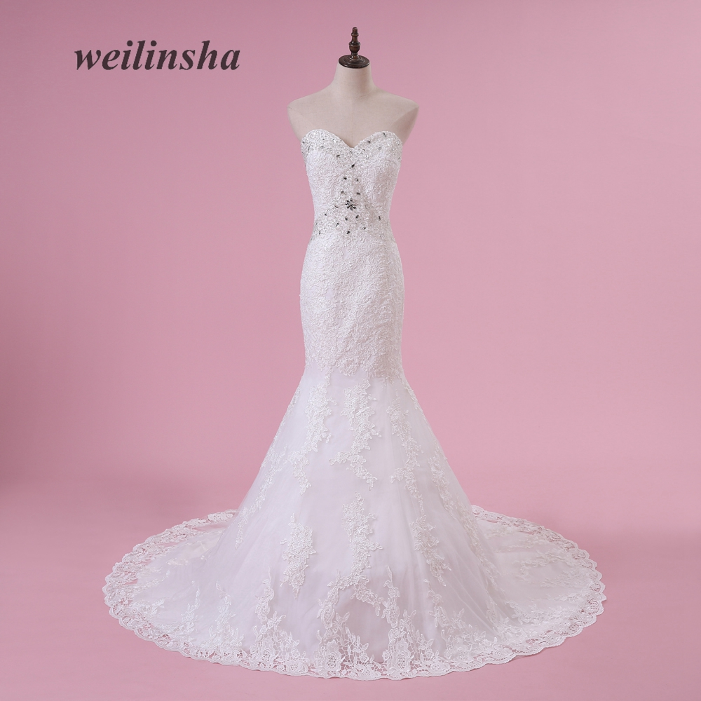 weilinsha Mermaid Tulle Wedding Dresses with Lace Appliques Sleeveless Floor Length Custom Made Brides Formal Vestido de Noiva