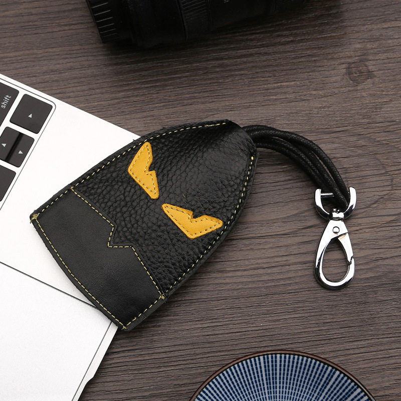 Luxury Real Leather Auto Key Bag Metal Key Ring Car Key Holder Leather Cowhide Monster Keychain Bag Charm Pendant Accessories