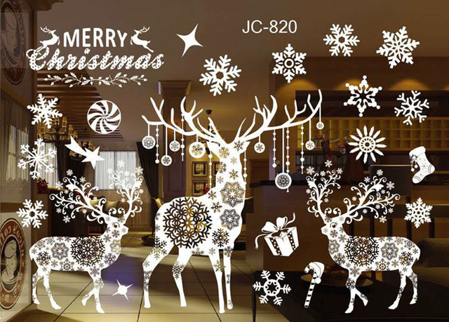 DIY Merry Christmas Window Snow Town Wall Stickers Removable PVC Christmas Wall Sticker Home Decal Christmas Decoration for Home