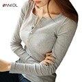 T-shirt fêmea magro botão causais mulheres clothing cinza o pescoço sólidos cor 2XL Algodão Preto Branco Rosa Mulheres Manga Comprida Top Tees