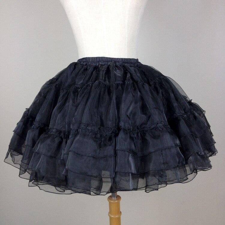 Ball Gown Underskirt Short Dress  Black And white Cosplay Petticoat Bones Lolita Ballet Organza Crinoline 40 cm