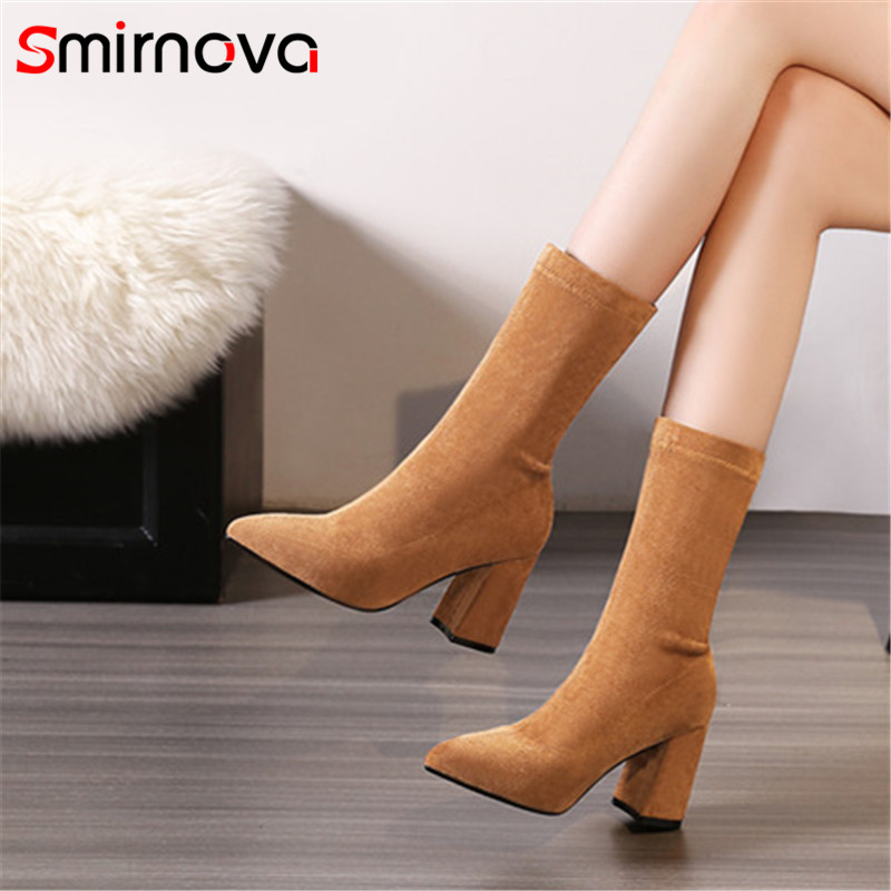 Smirnova NEW arrive 2018 fashion autumn winter mid calf boots pointed toe flock woman boots super