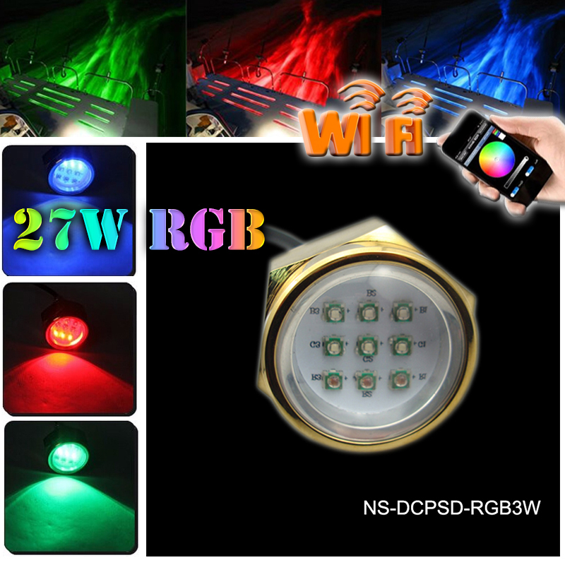 Led Marine Lamp 27W Boat Drain Plug Light 9 LED Boat Light Underwater Boat Lamp 12V/24V RGB WIFI controlLed Marine Lamp 27W Boat Drain Plug Light 9 LED Boat Light Underwater Boat Lamp 12V/24V RGB WIFI control