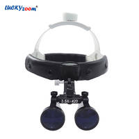 Luckyzoom 3.5X Helmet Medical Magnifier Adjustable Dentist Surgical Binocular Magnifying Glass Loupe Portable Beauty Lupa