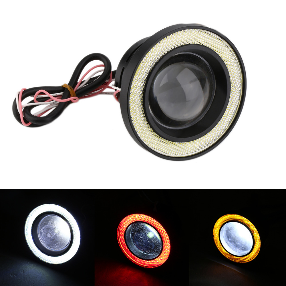 Universal Newest 12V-24V Super Bright 3.5 30W Car Angel Eye COB Halo Ring LED DRL Projector Lens Driving Light Hot Selling car styling 80mm for 2 5inch projector lens led light guide angel eyes fiber optic angel eyes drl halo ring super bright
