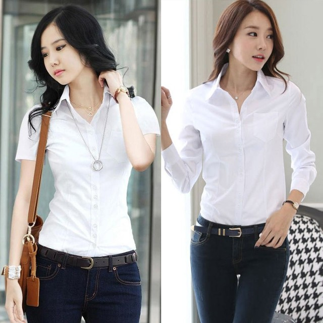 2020 New Fashion Summer Qualities Women's Office Lady Formal Party Long Sleeve Slim Collar Blouse Casual Solid White Shirt Tops 5