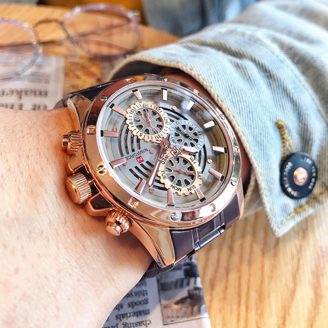 Relógio à prova dwaterproof água 24 horas relógio de pulso de negócios de aço completo relógios de quartzo criativo masculino topo de luxo marca naviforce