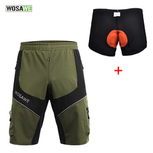 Wosawe Shorts Downhill MTB Shorts Men + Padded Gel 3D Underwear Cycling Shorts Bicycle Bike Short pants for Men Summer