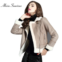 Women Autumn Winter Faux Sheepskin Coat Suede Jacket Lamb Wool Thick Grey Short Slim Womens Jackets