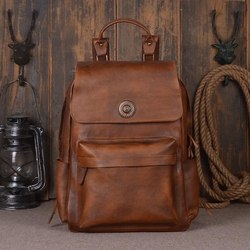 Nesitu Vintage grand marron gris-bleu épais en cuir véritable 14 ''15.6'' ordinateur portable femmes hommes sac à dos femme homme sacs de voyage M9031