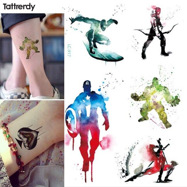 8addf3207 1sheet new Boy Temporary Tattoo Cartoon American captain Hulk Hawkeye Body  Art Flash Tattoo Stickers 21