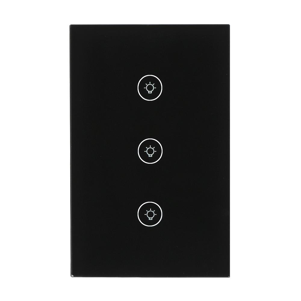 S05 LEMAIC WiFi Smart Home Timing Voice Remote Control Switch Light Wall US 3 gang For APP Control Touch Switch Work With Alexa sonoff t1 us smart touch wall switch 1 2 3 gang wifi 315 rf app remote smart home works with amazon free ios and app ewelink