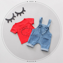 Summer Baby Girls Short Sleeve Letter Cartoon T-shirt Tops + Denim Jeans Cupid Wing Overalls Pant Kids Sets Two Pieces Suits