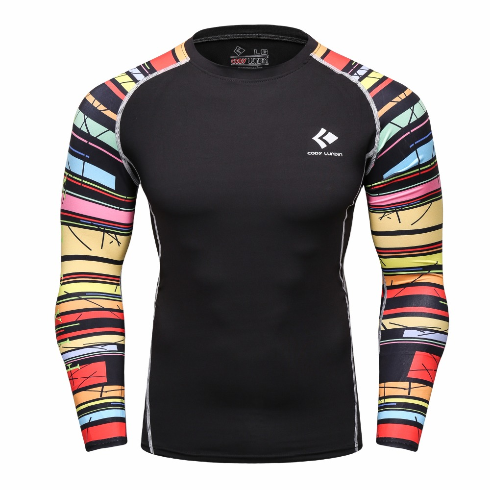 2016 MMA Weight Lifting Fitness Mens Cody Lundin Brand Compression T Shirts Long sleeve Base Layer Bodybuilding Tights Tops Male