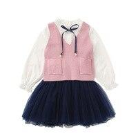 Birthday Dress for Girls School Uniform Long Sleeve Princess Wedding Party Dresses Ball Gown+Vest Sweater Kids Clothing 2 6T