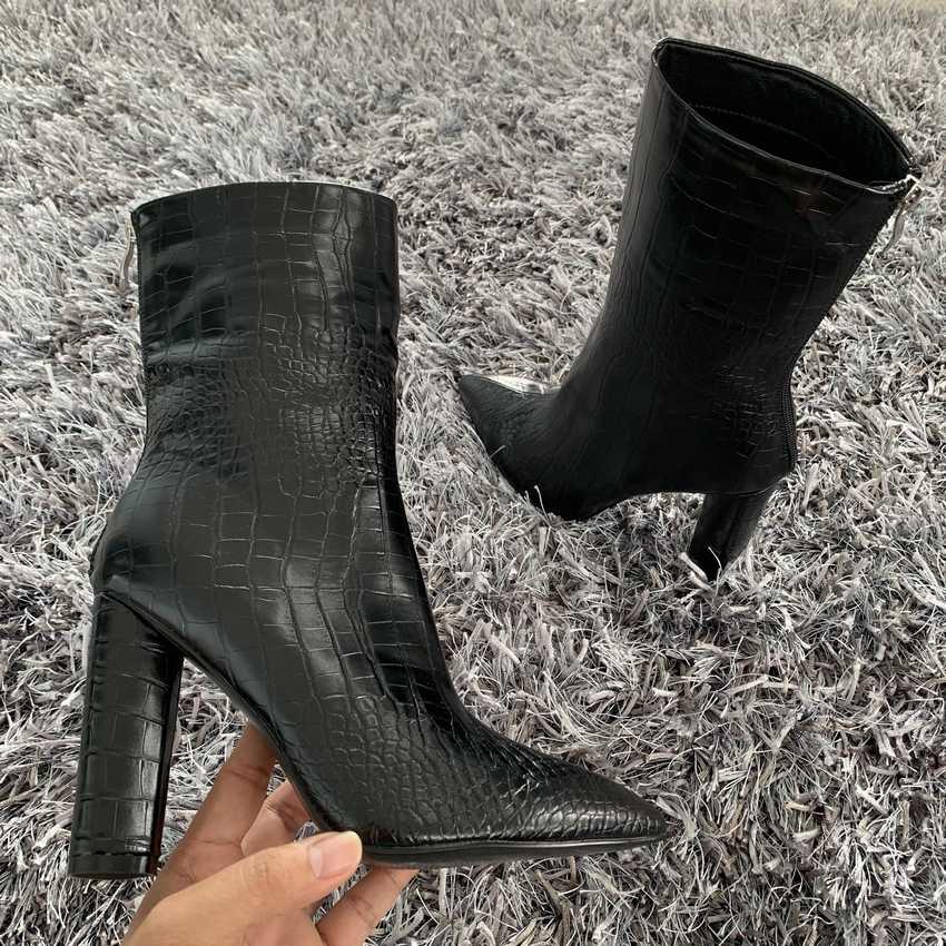 Botas de tobillo de mujer de alta calidad con punta de cremallera calzado de tacón alto de 10,5 CM botas de fiesta para mujer 2019 nuevo de invierno