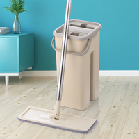 Magic Flat Mop Bucket Hand Free 360 Degree Head Microfiber Wet And Dry Floor Cleaning Safe on Surfaces Hardwood Laminate Tile