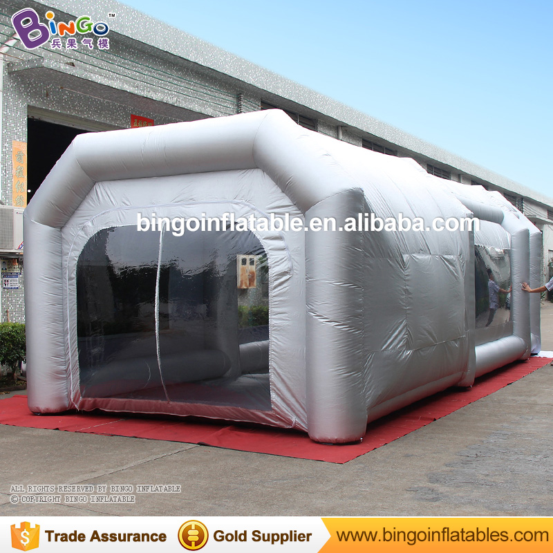 Free Shipping 9x4x3M Light Silgver Color Mobile Inflatable Garage Workshop Spray Paint Booth Tent with Filters for toy tents free shipping inflatable spray paint garage booth tent high quality 8x4 5x3 meters cabine de peinture gonflable toy tents