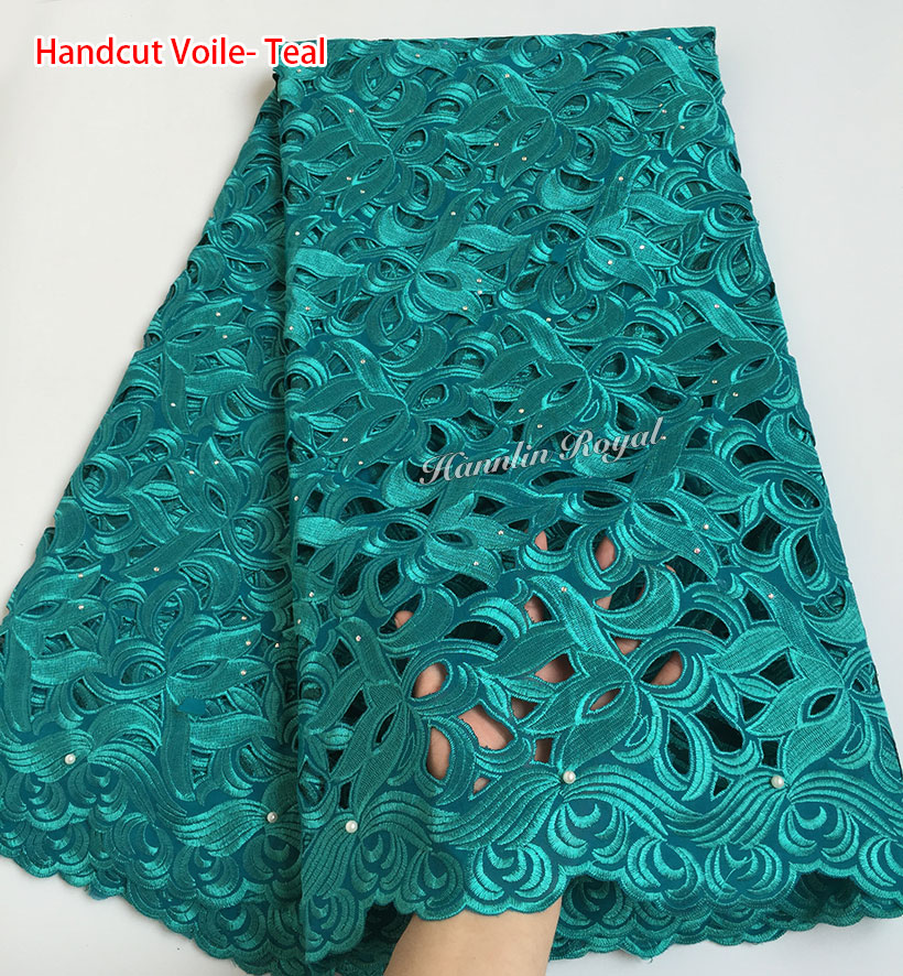 Cutout Holes Beaded Handcut organza Lace African Swiss lace voile fabric high quality 5 yards PC