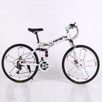 26inch folding mountain bike 21 speed Two disc brake bicycle 10 knife wheel mountain bike folding bicycle Suitable for adults
