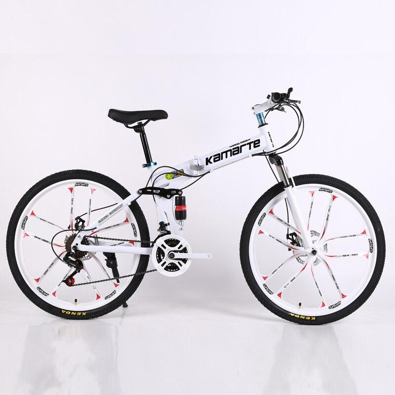 26inch Folding Mountain Bike 21 Speed Two-disc Brake Bicycle 10 Knife Wheel Mountain Bike  Folding Bicycle Suitable For Adults