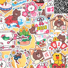 36 Pcs cartoon Cute bear Sticker For Luggage Skateboard Phone Laptop Moto Bicycle Wall Guitar Stickers
