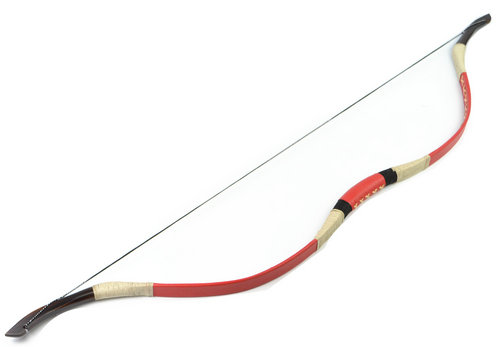 FB02N Red Recurve Archery fiberglass bow for hunting Leather Chinese bow 40lb tranditional recurve bow archery fiberglass hunter dark brown print bow yellow bow tip handmade bow