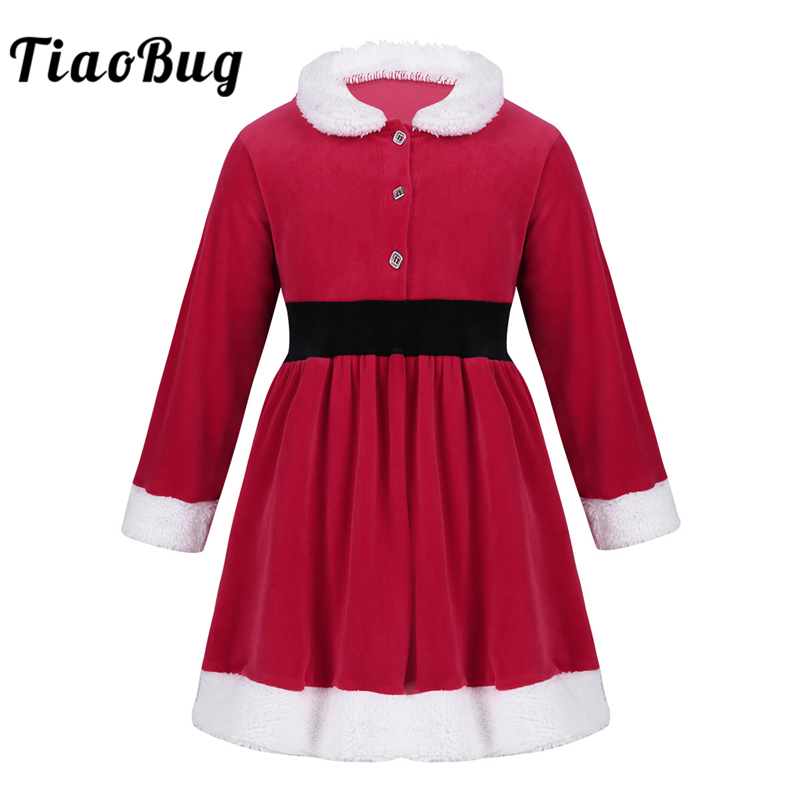 TiaoBug Child Girls Long Sleeve Lapel Faux Fur Christmas Costume Toddler Princess Dress for Xmas Cosplay Holiday Party Dress Up