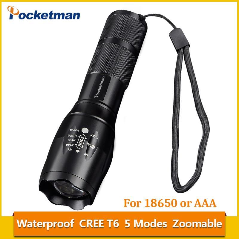 2018 Haute Luminosité Nouveau Pocketman 5-Mode Zoomables E17 LED lampe de Poche Torche Étanche 3x AAA Led lumière XM-L T6 3800LM z94