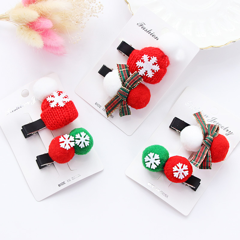 New Christmas Gift Girls Cute Hair Clips 1Pack Ball Hat Bow Hairpins Lovely Kids Hair Ornament Headband Hair Accessories Set 4pcs new for ball uff bes m18mg noc80b s04g