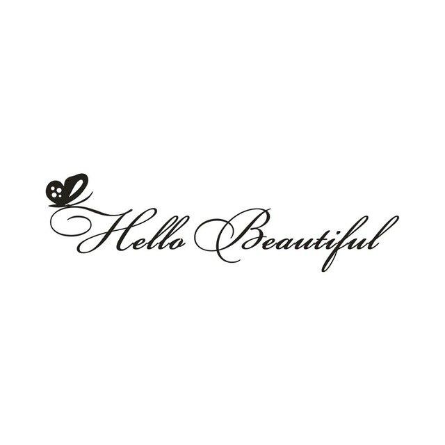 Hello Tráng Gương Đẹp Decal Salon Dán Tường Tự Tình Trích Dẫn Phòng Ngủ Cửa Kính Trang Trí Treo Tường Đề Can Adesivos de parede