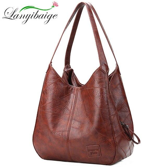 2019 Vintage kadın omuzdan askili çanta kadın nedensel tote çanta büyük kapasiteli lüks tasarımcı yüksek kaliteli bayan çanta kesesi Femme