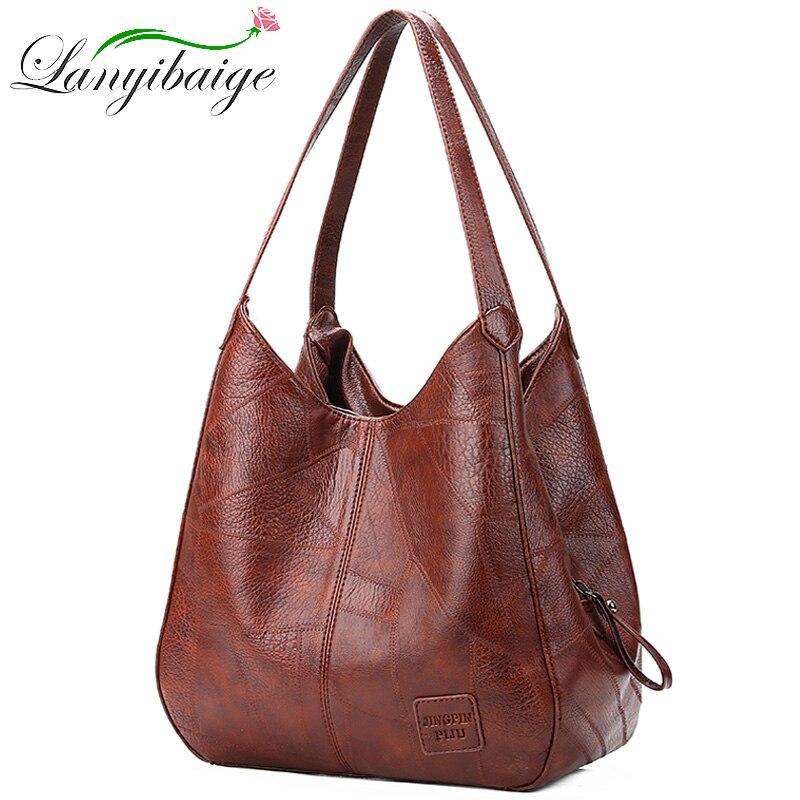 2019 Vintage mujer bolso de hombro mujer casual bolsas gran capacidad diseñador de lujo de alta calidad bolso de mujer