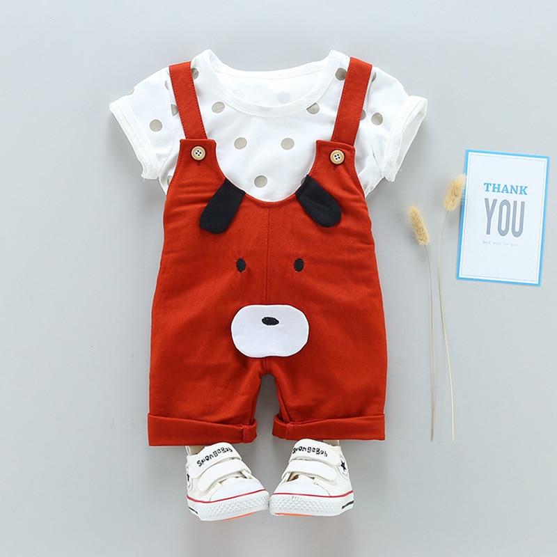 Godeir Summer Children Clothing Baby Boys Clothing Sets Dog Cartoon Cute Clothes Kids Bib Short Sleeve T-Shirt+Strap Shorts