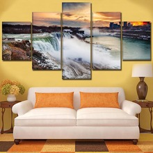 Canvas Prints Poster Home Decor Wall Art 5 Piece Landscape Niagara Falls Paintings For Living Room Modular Pictures Framework