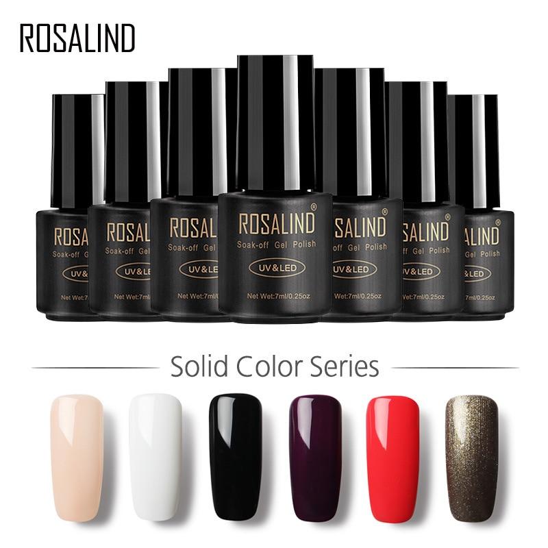 ROSALIND New 7ml Nail Polish Acrylic Gel Varnish Hybrid Semi Permanent UV Soak Off Set For Manicure Need Base Coat Removable