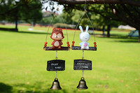 Lovely Fox rabbit Resin Wind chimes Strap Door bells Pendant outdoor decorations and good gifts Collection