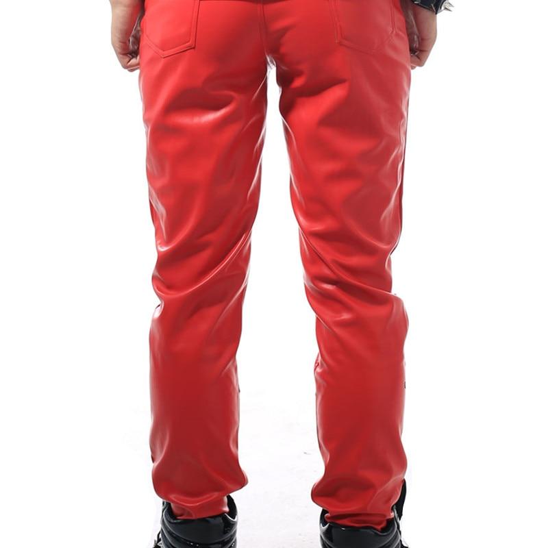 Must punane neetist püksid Mees DJ DS kostüümide püksid meeste PU - Meeste riided - Foto 6