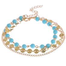 New Fashion Blue White Stone Shiny Gold Anklet Trendy Bracelet Bangle
