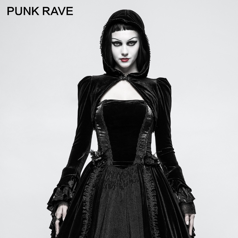 PUNK RAVE Gothic Bolero Velvet Shrug Black Woman Little Jacket Thick Short Coat with Hat Novelty