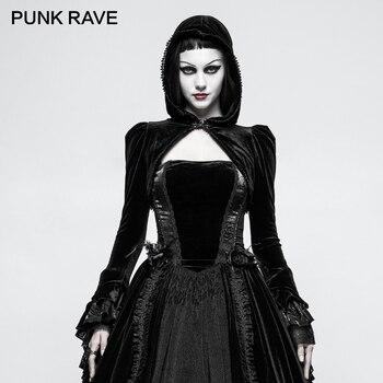 Gothic Bolero Velvet Shrug Black Little Hooded Jacket