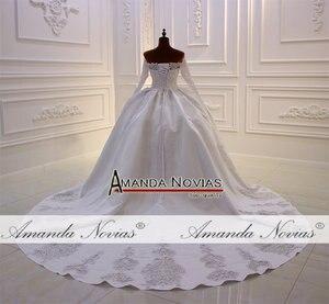 Image 4 - Mới thiết kế cô dâu váy làm cỏ dress satin với ren đầy đủ beading vạt áo