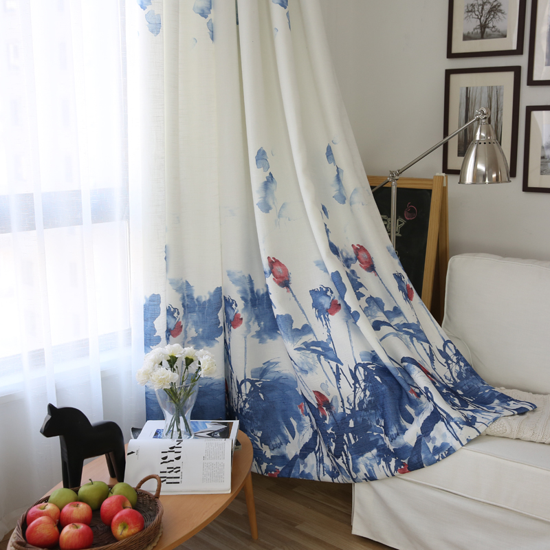 1 stuk) Chinese blauw en wit schilderen gordijnen panel, # LR moyun ...