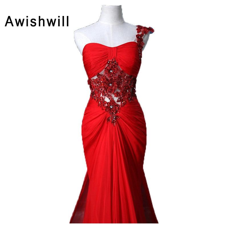 Verklig bild Vestido de Noche Largo röd kvällsklänning en axel - Särskilda tillfällen klänningar - Foto 3