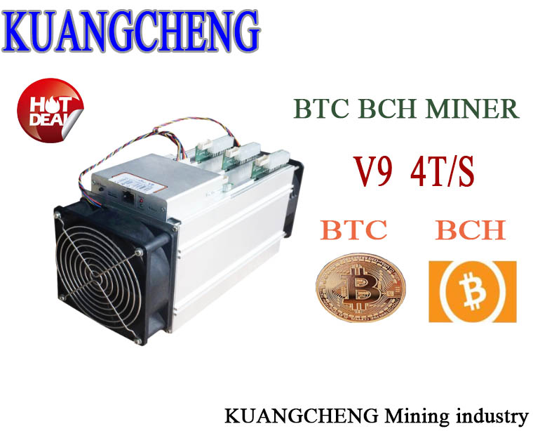 KUANGCHENG 16nm AntMiner V9 4T/S Bitcoin Miner (NO PSU) Asic Miner use BTC BCH BCC  antminer S3 S5 S7 yunhui used btc miner antminer s5 1150g 28nm bm1384 bitcoin mining machine asic miner with power supply ship by dhl or spsr
