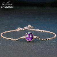 LAMOON Violet Améthyste Bracelet De Mariage Femmes 925 Sterling Argent Fine Jewelry 18 K Or Rose Plaqué Charme Chaîne Bracelet LMHI035